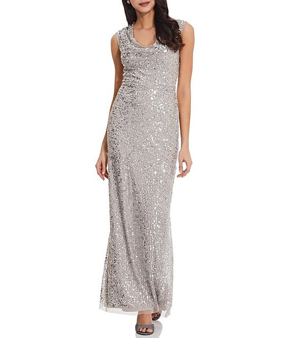 Color:Silver - Image 1 - Drape Neck Back Slit Beaded Column Gown