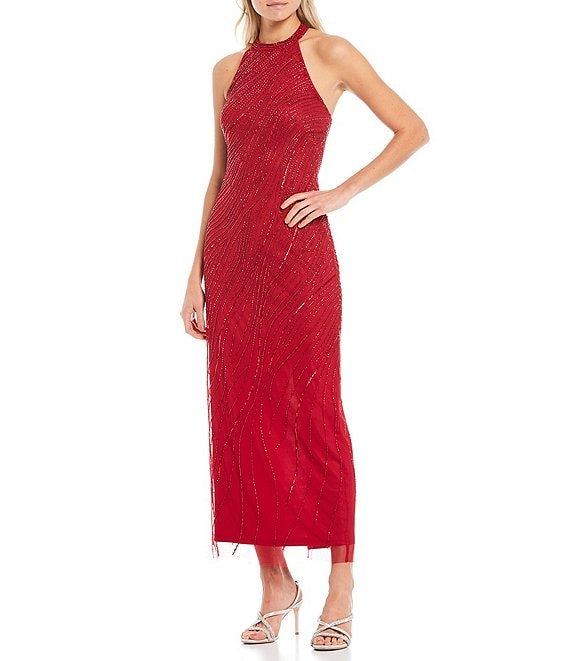 Color:Dark Cherry - Image 1 - Halter Neck Beaded Mesh Ankle Gown