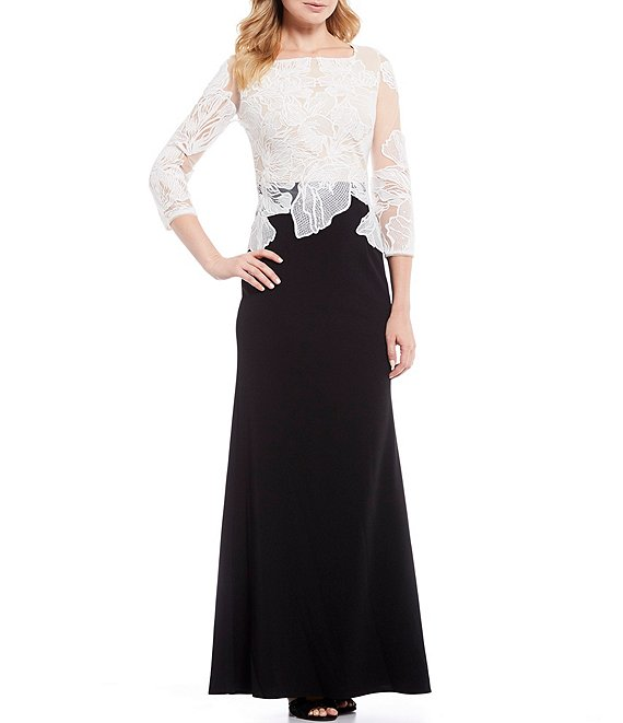 Adrianna Papell Illusion Lace Bodice Crepe Gown
