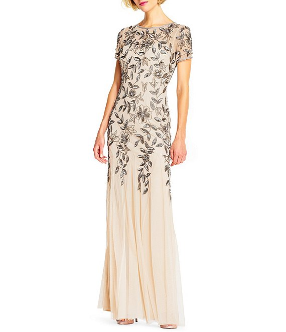 Color:Taupe/Pink - Image 1 - Illusion Neck Short Sleeve Floral Beaded Mermaid Gown