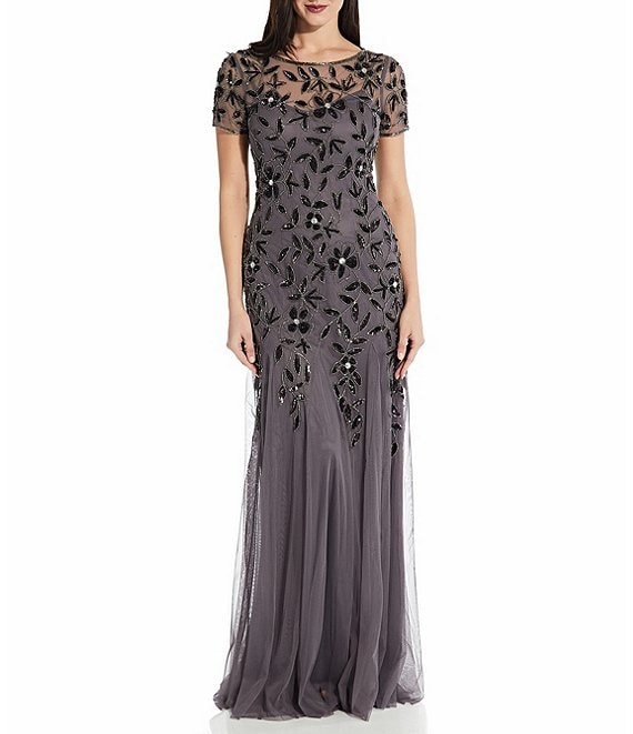 Color:Moonscape - Image 1 - Illusion Neck Short Sleeve Floral Beaded Mermaid Gown
