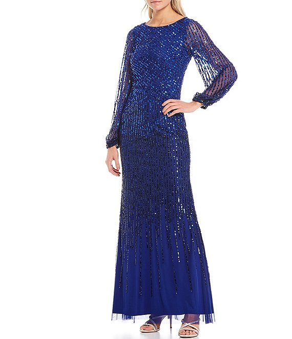 Color:Ultra Blue - Image 1 - Illusion Sleeve Beaded Mesh Gown