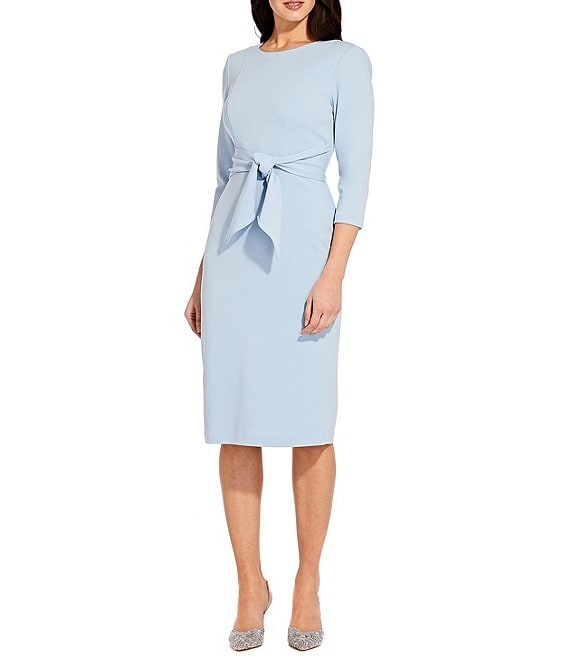 Color:Blue Mist - Image 1 - Stretch Crepe Knit Tie Waist 3/4 Sleeve Midi Sheath Dress