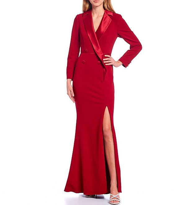 Color:Matador Red - Image 1 - Long Sleeve Front Slit Crepe Tuxedo Mermaid Gown