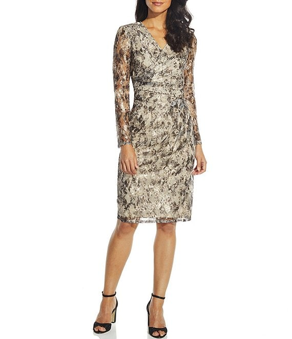 Color:Gold Multi - Image 1 - Metallic Snakeskin Lace Illusion Sleeve Sheath Dress