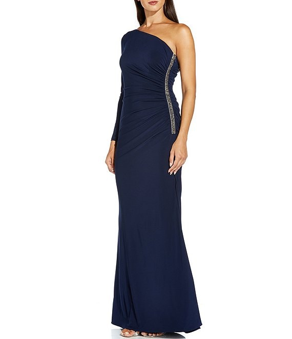 Color:Midnight - Image 1 - One Sleeve Embellished Matte Jersey Gown