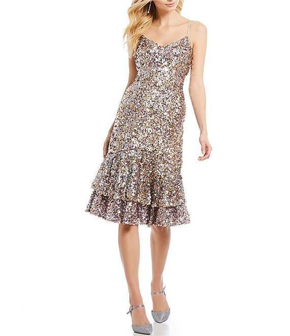 Adrianna Papell Petite Size Sequin Ruffle Dress