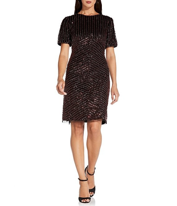 Color:Black/Red - Image 1 - Puff Sleeve Sequined Sheath Dress