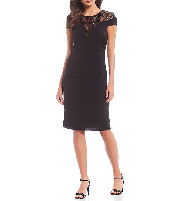 Color:Black - Image 1 - Sequin Ruched Waist Detail Jersey Stretch Sheath Dress