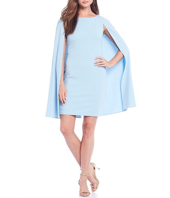 Color:Blue Mist - Image 1 - Structured Cape Sheath Dress