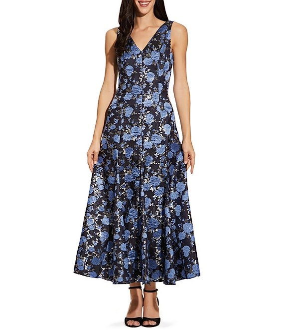Color:Blue Multi - Image 1 - V-Neck Metallic Floral Print Tea Length A-Line Dress