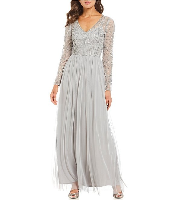c435fc20e0a Adrianna Papell V Neck Sequin Bodice Chiffon Gown