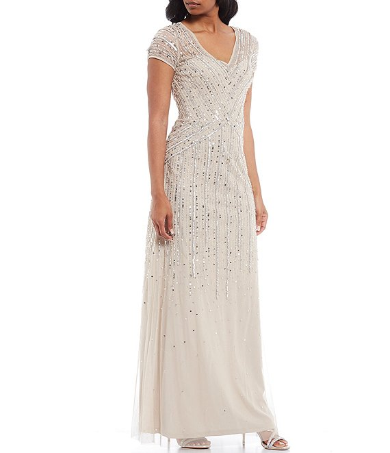 Color:Biscotti - Image 1 - V-Neck Short Sleeve Beaded Mesh A-Line Gown