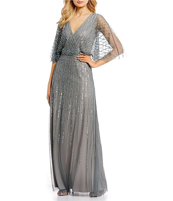 a923c4d217b0 Adrianna PapellAdrianna V-Neck Beaded Blouson Illusion 3/4 Sleeves Gown