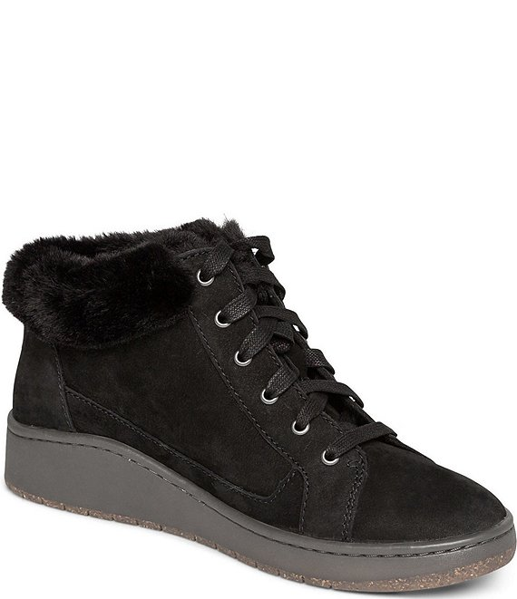 Color:Black - Image 1 - Dylan Faux Shearling Collar Water Resistant Leather High Top Sneakers