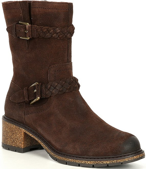 Color:Brown - Image 1 - Nora Leather Water Resistant Braided Straps Mid Block Heel Boots