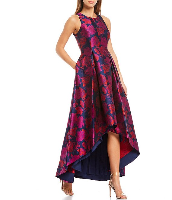 Color:Navy Multi - Image 1 - Floral Jacquard Sleeveless Hi-Low Dress
