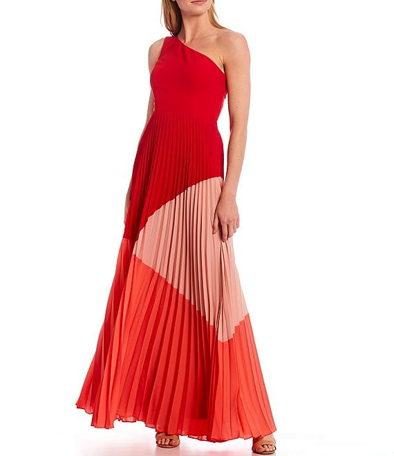 Color:Red Multi - Image 1 - One Shoulder Sleeveless Color Block Pleated Gown