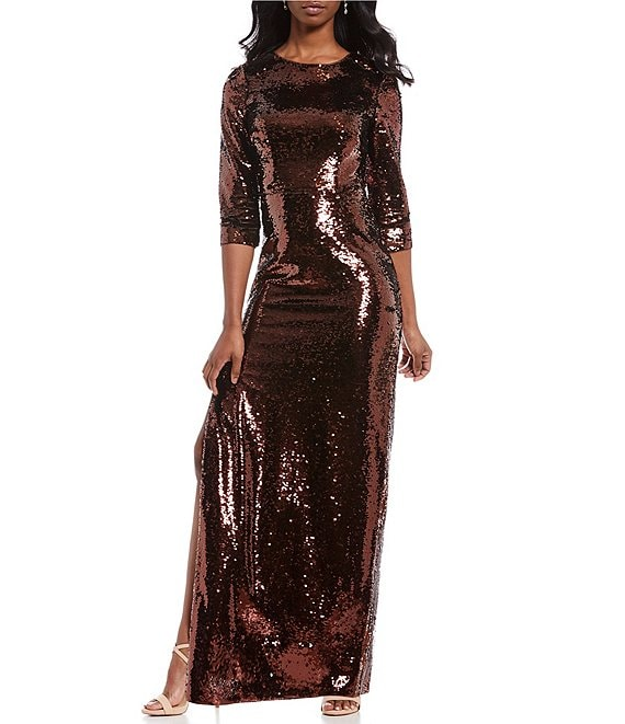 Aidan Aidan Mattox Metallic Sequin Side Slit Sheath Gown