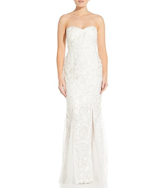Color:Ivory - Image 1 - Sweetheart Neckline Embroidered Mermaid Gown