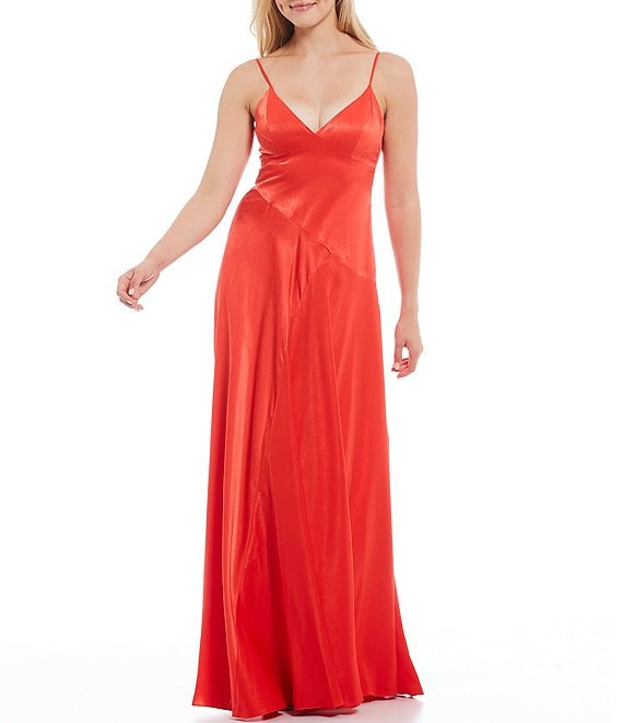 Color:Flame Red - Image 1 - Washed Charmeuse V-Neck Sleeveless Sea Dress