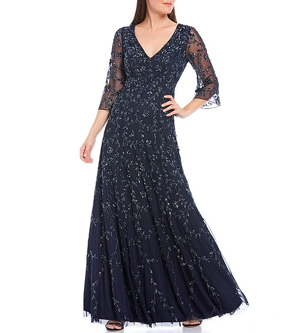 Color:Twilight - Image 1 - 3/4 Illusion Sleeve V-Neck Beaded Mesh A-Line Gown