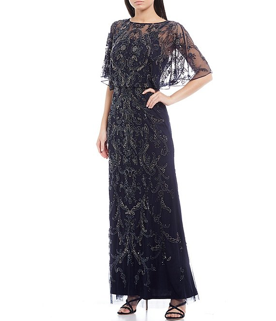 Color:Twilight - Image 1 - Flutter Sleeve Blouson Beaded Mesh Gown