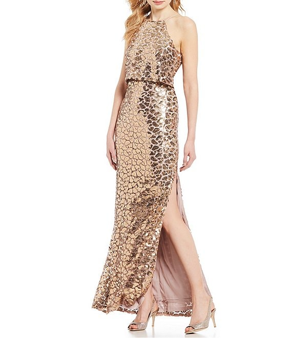 Aidan Mattox Metallic Sequin Halter Pop Over Gown