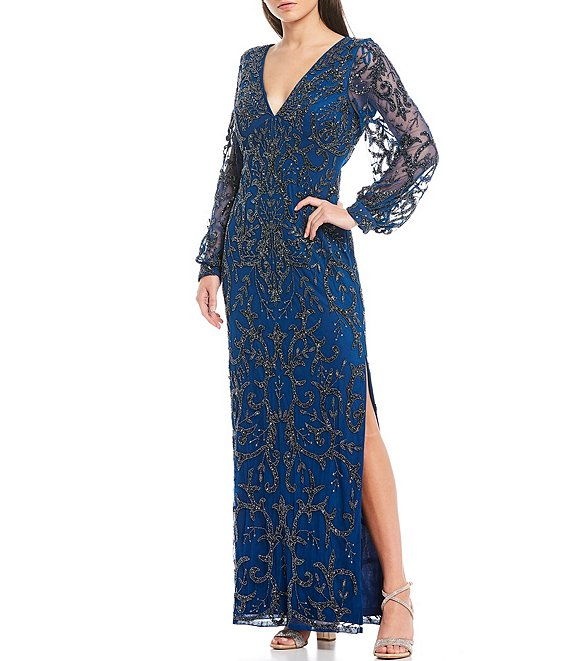 Color:Deep Ocean - Image 1 - Plunge V-Neck Long Illusion Balloon Sleeve Beaded Mesh Side Slit Gown