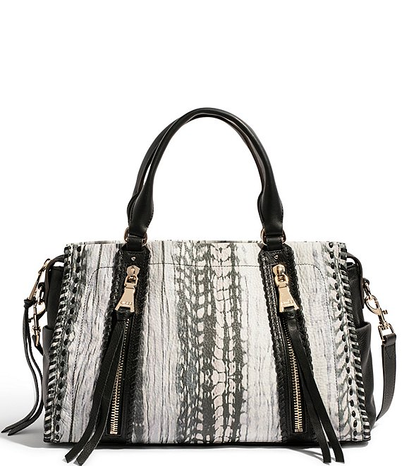 Color:Feather Print - Image 1 - Bali Feather Printed Leather Triple Entry Satchel Bag