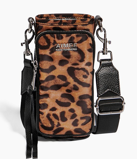 Color:Jungle Leopard - Image 1 - On Top Of The World Leopard Water Bottle Crossbody Bag