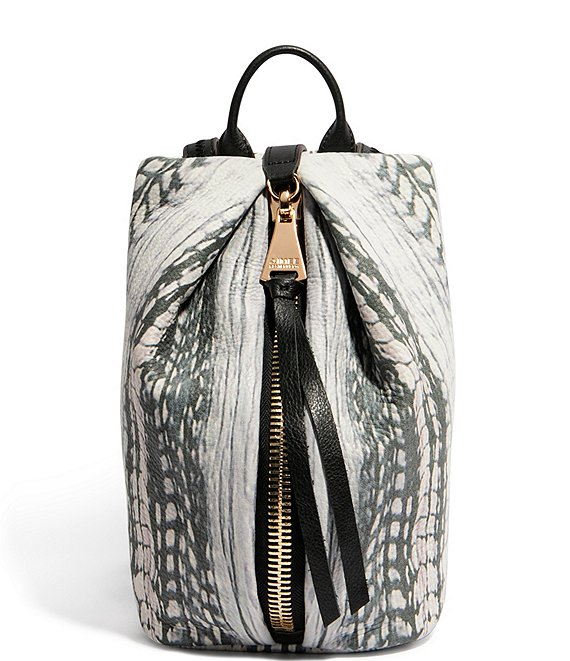 Color:Feather Print - Image 1 - Tamitha Feather Printed Leather Mini Backpack