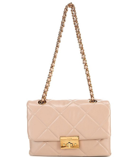 Color:Pink - Image 1 - Aloja Quilted Chain Shoulder Bag
