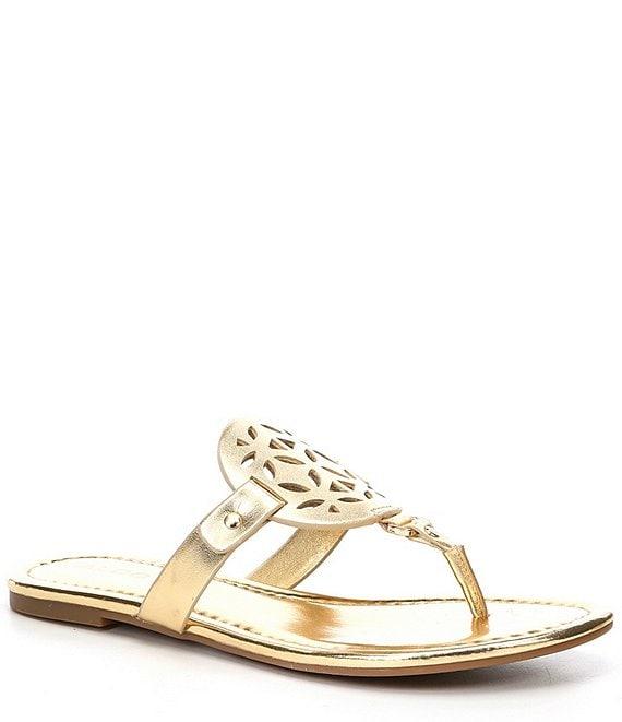 c76b3e441af9 ALDO Cheivia Metallic Leather Laser-Cut Thong Sandals