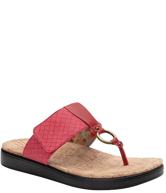 Color:Red - Image 1 - Lanie Hoop Detail Thong Sandals