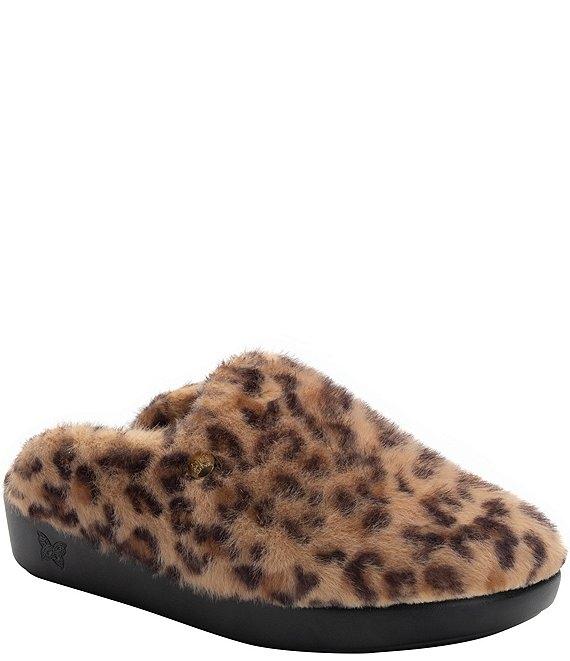 Color:Leopard - Image 1 - Leisurelee Leopard Print Faux Fur Shearling Slipper Clogs