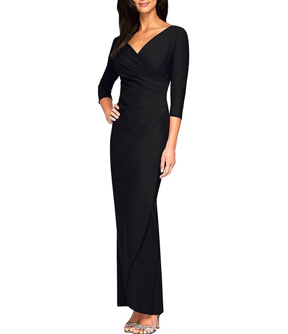 Color:Black - Image 1 - 3/4 Sleeve Stretch Compression Side Ruched Faux Wrap Dress