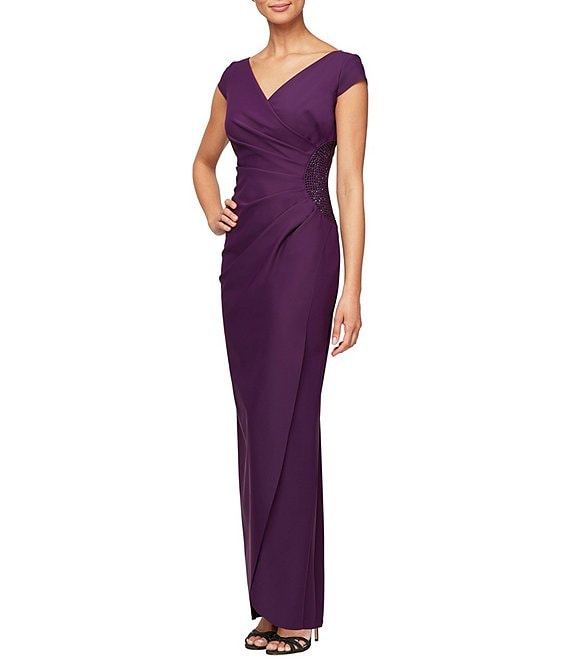 Alex Evenings Cap Sleeve Surplice Long Gown