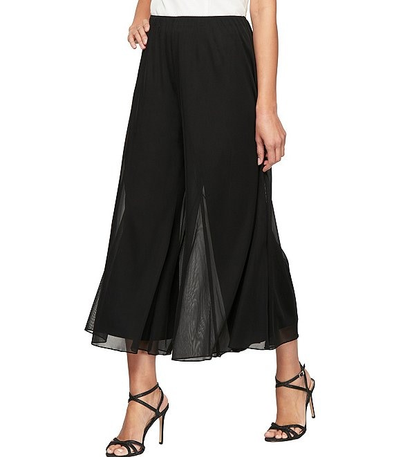 Color:Black - Image 1 - Cropped Wide Leg Pant