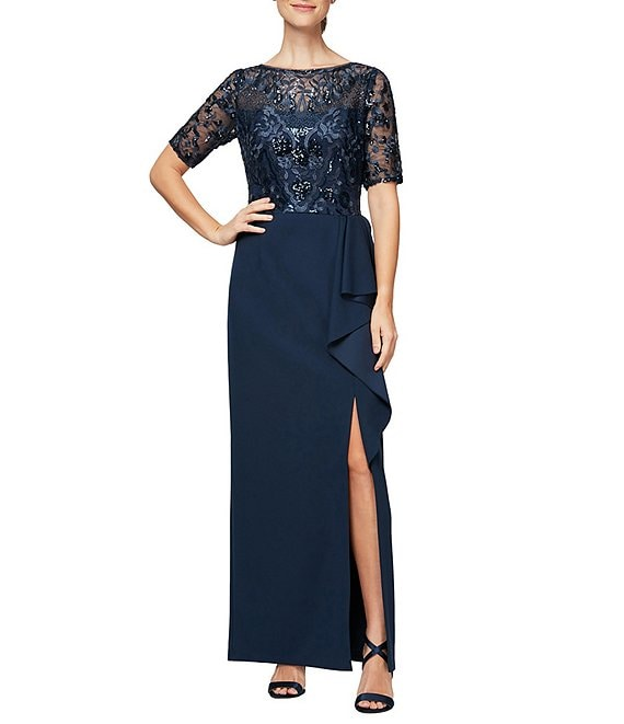 Color:Navy - Image 1 - Elbow Sleeve Embroidered Ruffle Front Crepe Gown