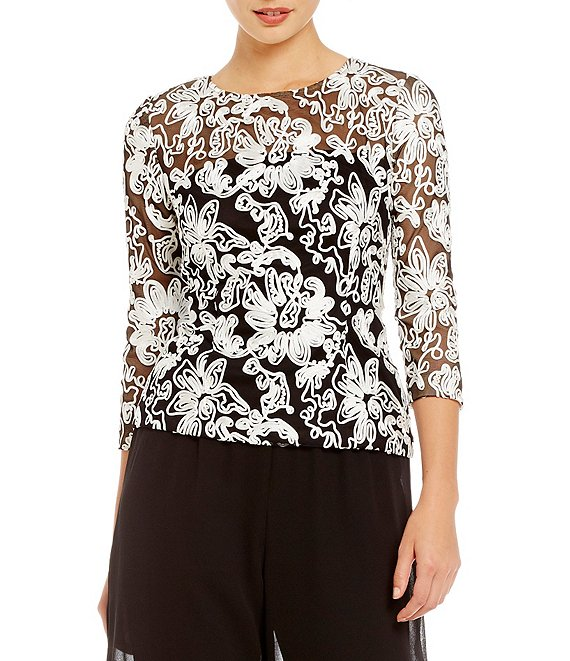 Color:Black/White - Image 1 - Embroidered Illusion Lace Blouse