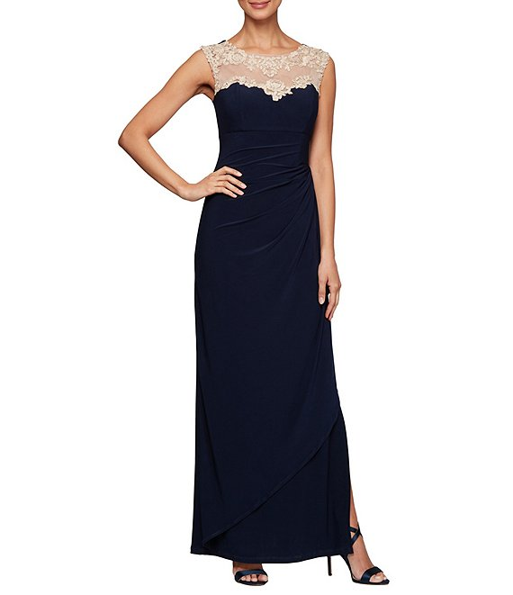 Color:Navy/Nude - Image 1 - Embroidered Neckline Cascade Side Ruched Long Jersey Gown