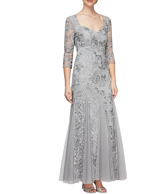Color:Silver - Image 1 - Embroidered Stretch Tulle Sweetheart Neck 3/4 Sleeve Dress