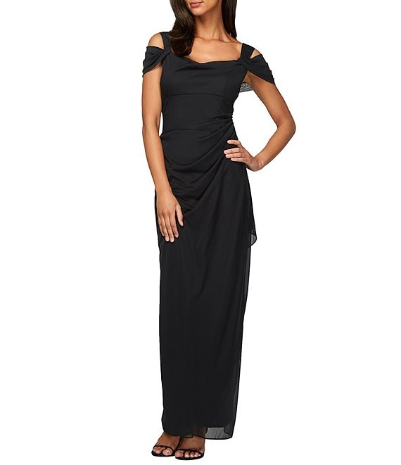 Color:Black - Image 1 - Exposed-Shoulder Draped Cap-Sleeve Ruched Waterfall Hem Mesh Gown