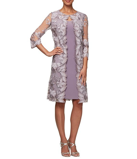 Color:Smokey Orchid - Image 1 - Floral Embroidered 3/4 Sleeve Mock Jacket Dress