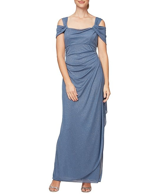 Color:Dusty Blue - Image 1 - Glitter Mesh Square Neck Cold-Shoulder Gown