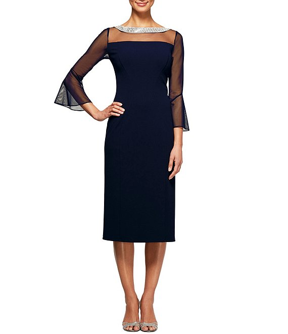 Color:Navy - Image 1 - Illusion Mesh Bell Sleeve Crepe Sheath Dress