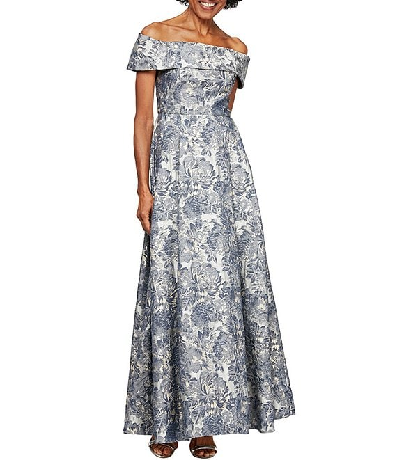 Color:Silver Multi - Image 1 - Jacquard Cap Sleeve Off-the-Shoulder Floral Print Pocket Ball Gown