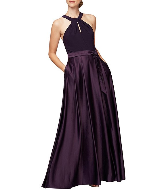 Color:Eggplant - Image 1 - Keyhole Halter Neck Tie Detail Satin Gown