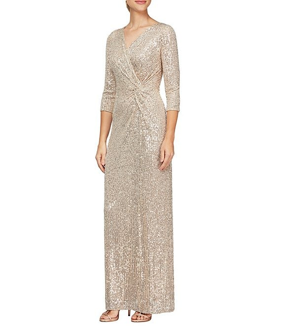 Color:Taupe - Image 1 - Knot Front Allover Sequin Back Slit Gown